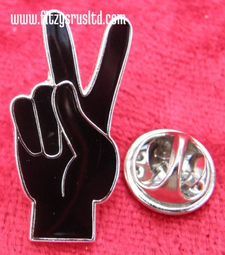 Peace Sign V Hand Symbol Lapel Pin Badge Victory Gesture Anti War
